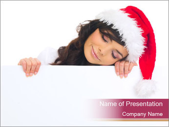 Santa Girl Holding Ads Board PowerPoint Template