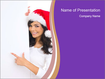 Woman Wearing Santa Cap with White Board PowerPoint Template