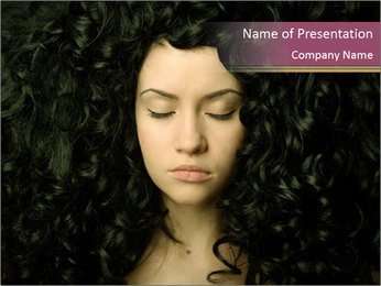 Woman with Black Curly Hair PowerPoint Template