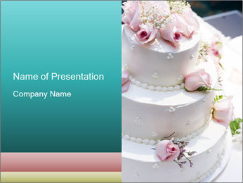 Wedding Cake with Decorative Pink Roses PowerPoint Template