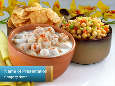 dumplings in yogurt with chips powerpoint template & backgrounds, Presentation templates