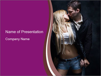 Passion Love Couple Kissing PowerPoint Template