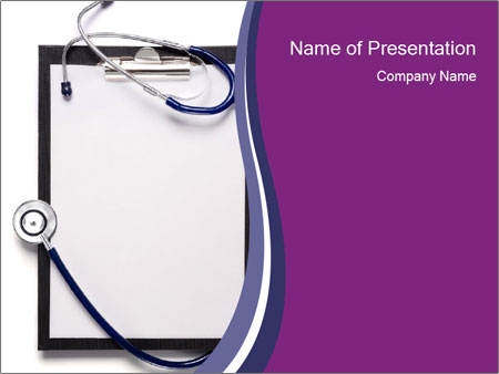 clipboard and medical stethoscope powerpoint template, Powerpoint templates