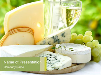 Swiss Cheese and Wine Glass PowerPoint Template