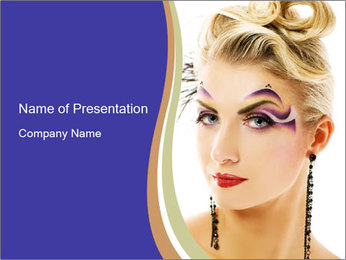 Woman with Creative Makeup PowerPoint Template