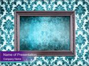 Antique Frame with Turquoise Pattern PowerPoint Templates