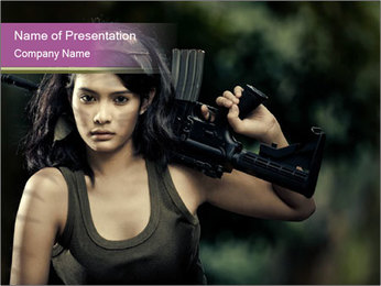 Armed Brave Woman PowerPoint Template