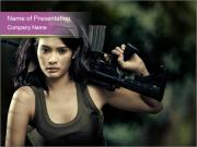 Armed Brave Woman PowerPoint Templates