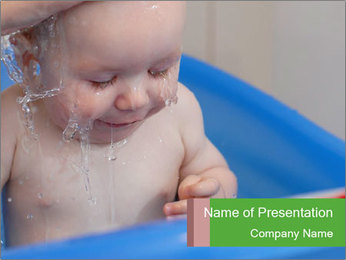 Cute Baby Taking Bath in Blue Tub PowerPoint Template