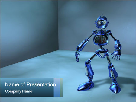 blue robot powerpoint template & backgrounds id 0000014846, Powerpoint templates