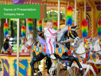Child on Carousel PowerPoint Template