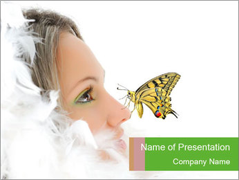 Butterfly on Woman's Nose PowerPoint Template