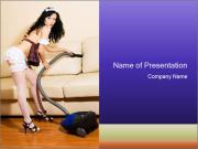 Sexy House maid with Vacuum Cleaner PowerPoint Templates