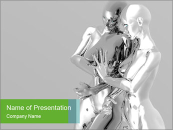Two Platinum Anime Sculpture PowerPoint Template