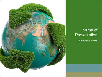Globe Covered with Grass Arrows PowerPoint Template