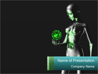 3D Android Woman PowerPoint Template