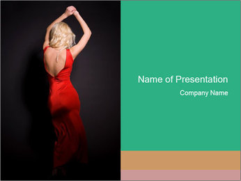 Woman in Red Dress with Open Back PowerPoint Template