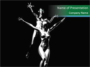 Platinum Statues of Women PowerPoint Template