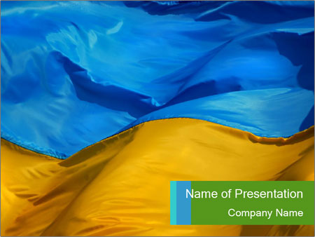 blue and yellow flag of ukraine powerpoint template & backgrounds, Modern powerpoint