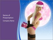 Woman in Pink Santa Cap PowerPoint Templates