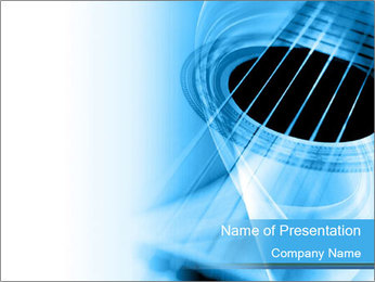 Blue Guitar Background PowerPoint Template