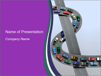 3D Road with Traffic Jam PowerPoint Template