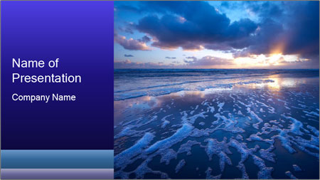 bright sun setting in ocean powerpoint template backgrounds