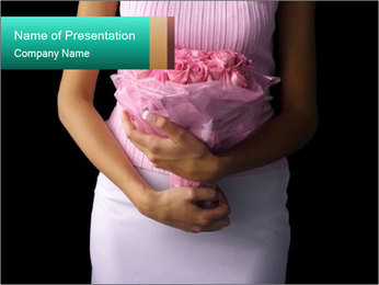 Woman Holds Pink Rose Bouquet PowerPoint Template