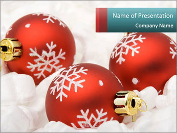 Red Christmas Balls with Silver Flakes PowerPoint Template