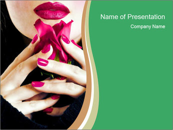 Woman Smells Rose Petals PowerPoint Template