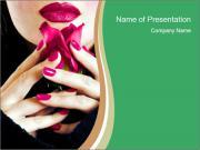 Woman Smells Rose Petals PowerPoint Templates