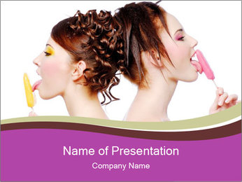 Two Girls with Ice Cream PowerPoint Template