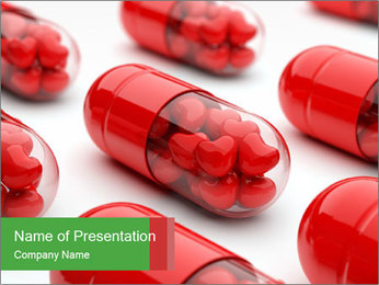 Hearts Packed in Red Pills PowerPoint Template