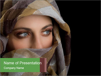 Arabian Woman's Face Covered in Veil PowerPoint Template