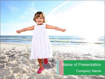 Small Girl on Sunny Beach PowerPoint Template