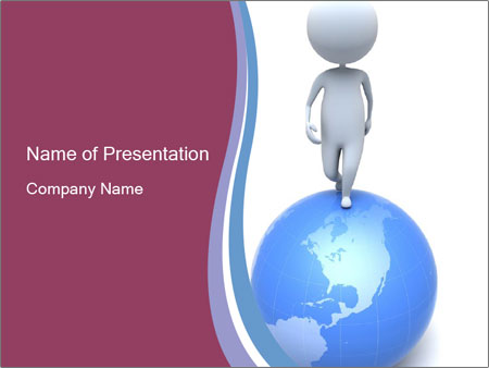 man walking on globe powerpoint template & backgrounds id, Powerpoint templates