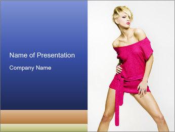 Woman in Short Pink Dress PowerPoint Template