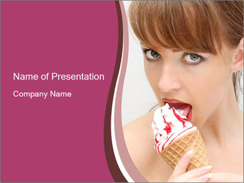 Woman with Icecream Dessert PowerPoint Template