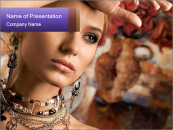 Woman in Luxury Vintage Jewelry PowerPoint Template
