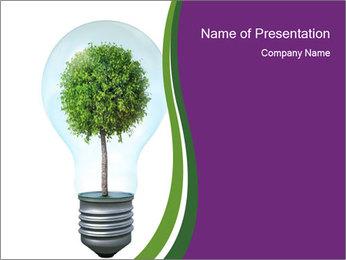 Green Tree in Lightbulb PowerPoint Template