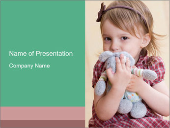 Baby Girl With Toy Rabbit PowerPoint Template