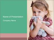 Baby Girl With Toy Rabbit PowerPoint Templates