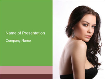 Brunette in Seductive Dress PowerPoint Template