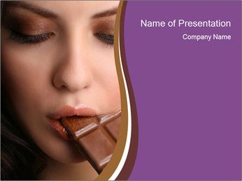 Woman Eating Chocolate Bae PowerPoint Template