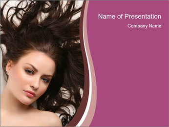Woman with Shiny Brunette Hair PowerPoint Template