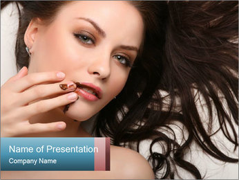 Brunette Woman with Chocolate Smeared PowerPoint Template