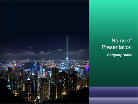 Hong Kong City View At Night Powerpoint Template Backgrounds