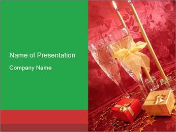 Decorative Glasses with Champagne PowerPoint Template
