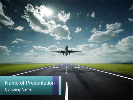 Airplane landing at the airport powerpoint template backgrounds id airplane landing at the airport powerpoint template toneelgroepblik Choice Image