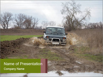 Russian Car Driving in Muddy Road PowerPoint Template